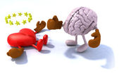 Brain fighting heart — Stock Photo