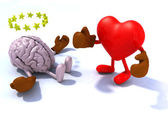 Heart fighting brain — Stock Photo
