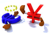 Yen and euro fighting with boxing gloves — Stock Photo