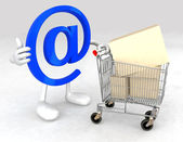 Email symbol with a shopping cart — Stock Photo