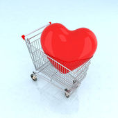Heart into shopping cart — Stock Photo