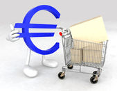 Euro symbol with a shopping cart — Stock Photo