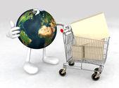 Svět s nákupním košíkem — Stock fotografie