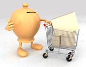 Moneybox with a shopping cart — Stock Photo