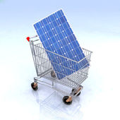 Shopping cart with solar panel inside — Stock Photo