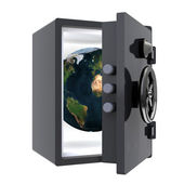 Earth protected in a safe — Stock Photo