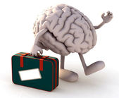 Brain with arms and legs that take a suitcase — Stock Photo
