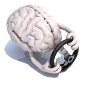 Human brain with arms and steering wheel car — Stock Photo