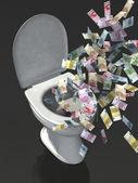 Euro banknote in the wc — Foto de Stock
