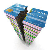 Stack of credit cards broken — Stock Photo