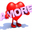 Heart that embraces word amore — Stock Photo