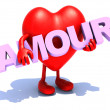 Heart that embraces word amour — Stock Photo