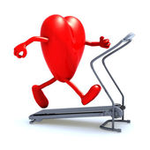 Heart on a running machine — Stock Photo