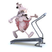 Human heart on a running machine — Stock Photo