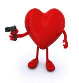 Kollar ve bacaklar ve silah ile kalp — Stok fotoğraf