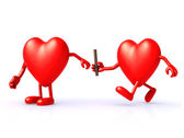 Relay between hearts — Stock Photo