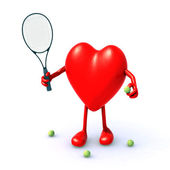 Heart with arms and legs that play tennis — Stock Photo
