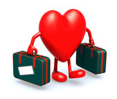 Heart with arms and legs that take a suitcase — Stock Photo
