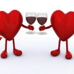 twee harten met glas rode wijn — Stockfoto #16940297