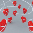Linked hearts — Stock Photo