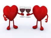 Two hearts with glass of red wine — Stock Photo