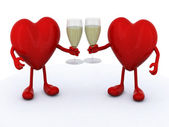 Two hearts with glass of white wine — Stock Photo