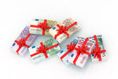 Euro banknotes gift — Stock Photo