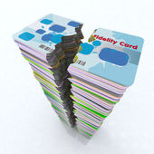 Stack of colored fidelity card broken — Stock Photo