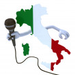 Italy with hands and microphone - Stock Photo