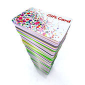 Stack of colored gift cards — Stock Photo