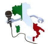 Italia con le mani e microfono — Foto Stock