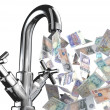 Stock Photo: Tap water with English banknotes