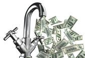 Tap water with U.S. dollar banknotes — Stock Photo