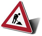 Traffic sign work in progress — Stock Photo