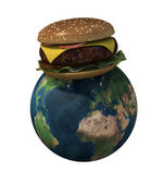 World with hamburger — Stock Photo