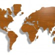 World map with wood — Stock Photo