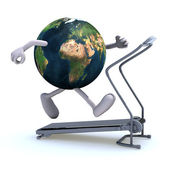 Earth on a running machine — Stock Photo