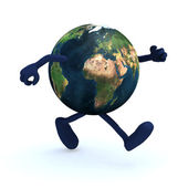 Earth with arms and legs running — Stock Photo