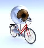 Ojo con los brazos y las piernas montando una bicicleta — Foto de Stock
