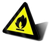 Warning sign fire — Stock Photo