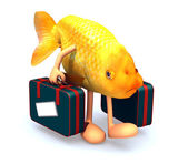 Red fish with arms and legs that take a suitcase — Stock Photo