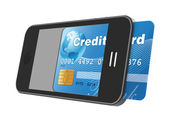 Smartphone with credit card — Stock Photo