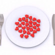 图库照片: Hearts on the plate