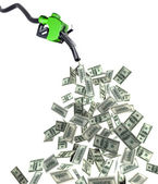 Fuel nozzle with dollar banknotes — Stock Photo