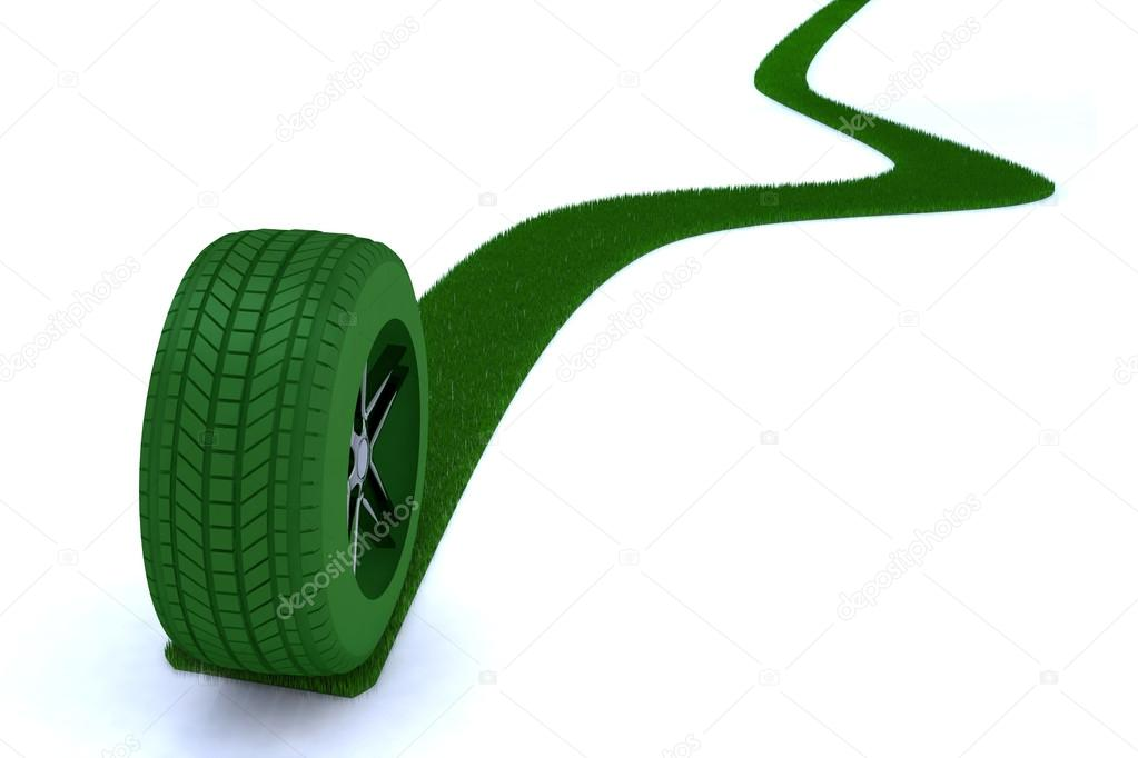 Green path from a wheel 3d illustration — Stock Photo #17198763