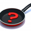 Question mark on the frying pan — Stock Photo