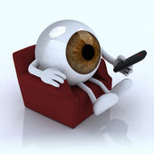 Big eye ball watching television from the couch — Stock Photo
