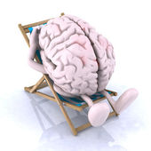 Brain that rests on a beach chair — Stock Photo
