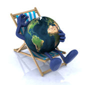 The world relaxing on a beach chair — Stock Photo