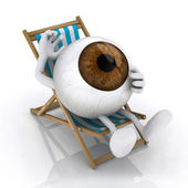 The big eye lying on beach chair — Stock Photo